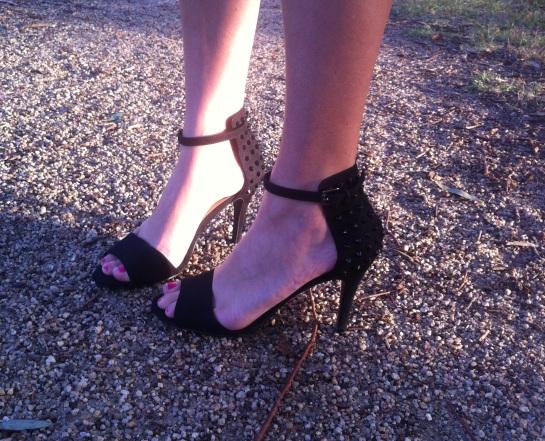 black stud heels