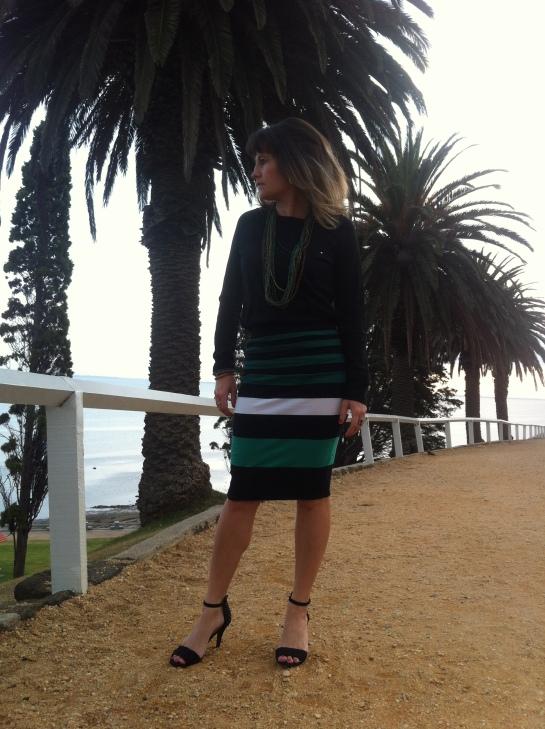 black and green stripe midi skirt