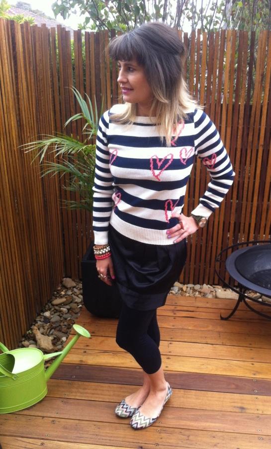 Dotti striped jumper with hearts